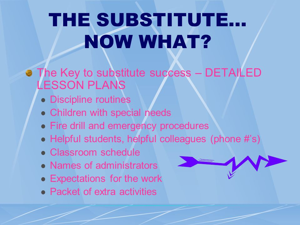 THE SUBSTITUTE… NOW WHAT.