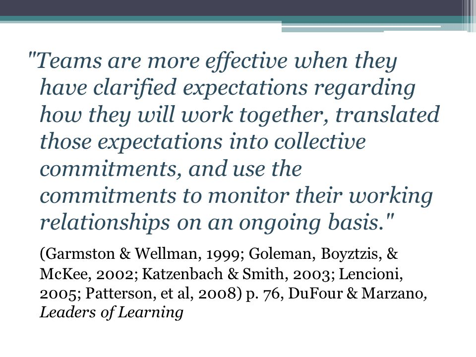 Teams are more effective when they have clarified expectations regarding how they will work together, translated those expectations into collective commitments, and use the commitments to monitor their working relationships on an ongoing basis. (Garmston & Wellman, 1999; Goleman, Boyztzis, & McKee, 2002; Katzenbach & Smith, 2003; Lencioni, 2005; Patterson, et al, 2008) p.