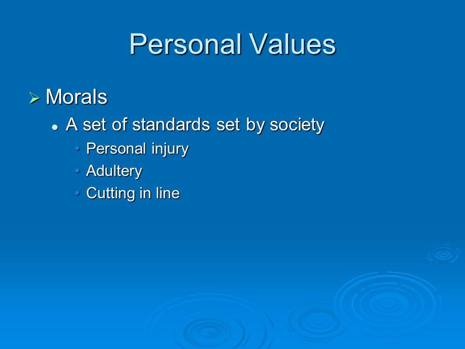 Personal Values  Morals A set of standards set by society A set of standards set by society Personal injuryPersonal injury AdulteryAdultery Cutting i