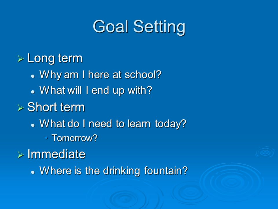 Goal Setting  Long term Why am I here at school. Why am I here at school.