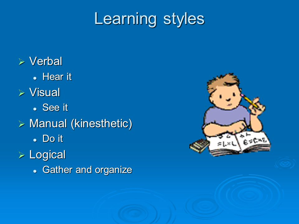 Learning styles  Verbal Hear it Hear it  Visual See it See it  Manual (kinesthetic) Do it Do it  Logical Gather and organize Gather and organize