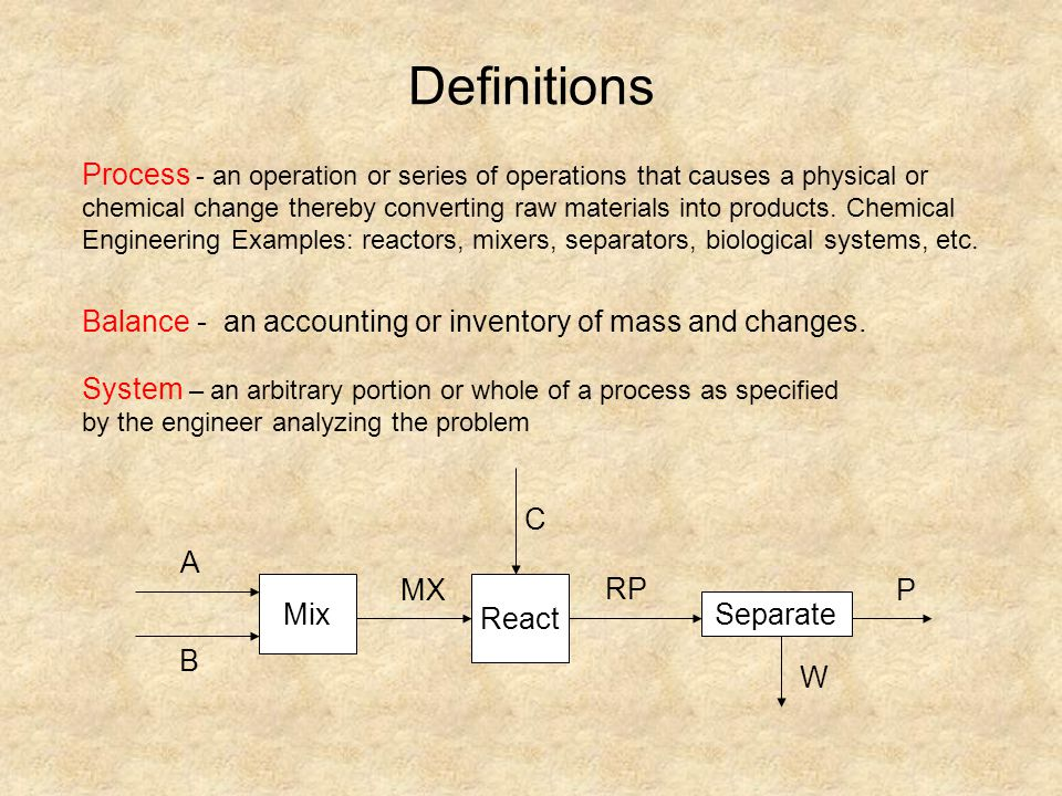 Accumulation = Input – Output + Generation - Consumption Steady State: Accumulation = 0 variables such as T, , volume, flow rates etc.