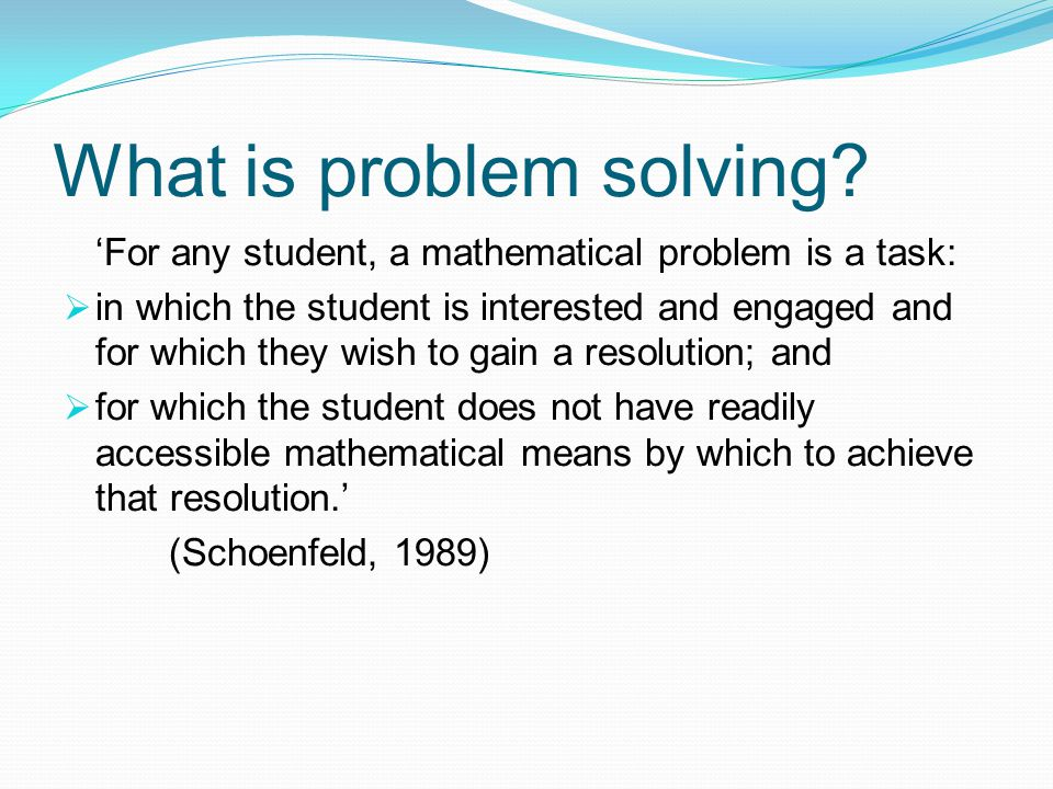What is problem solving.
