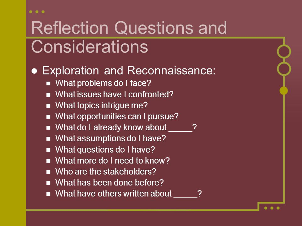 Reflection Questions and Considerations Exploration and Reconnaissance: What problems do I face? What issues have I confronted? What topics intrigue m