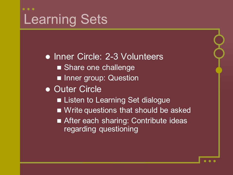 Learning Sets Inner Circle: 2-3 Volunteers Share one challenge Inner group: Question Outer Circle Listen to Learning Set dialogue Write questions that should be asked After each sharing: Contribute ideas regarding questioning