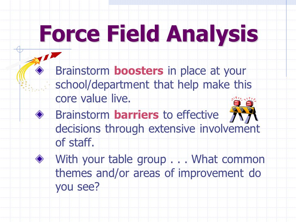 Force Field Analysis Brainstorm boosters in place at your school/department that help make this core value live.