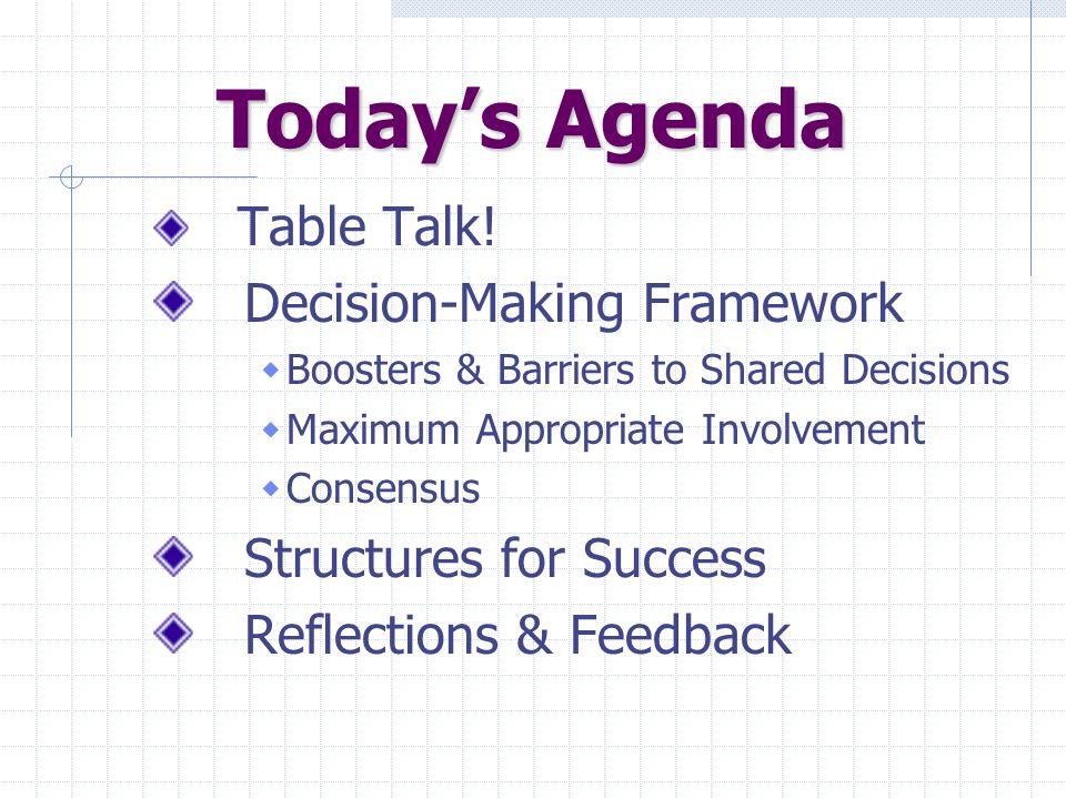 Today's Agenda Today's Agenda Table Talk.