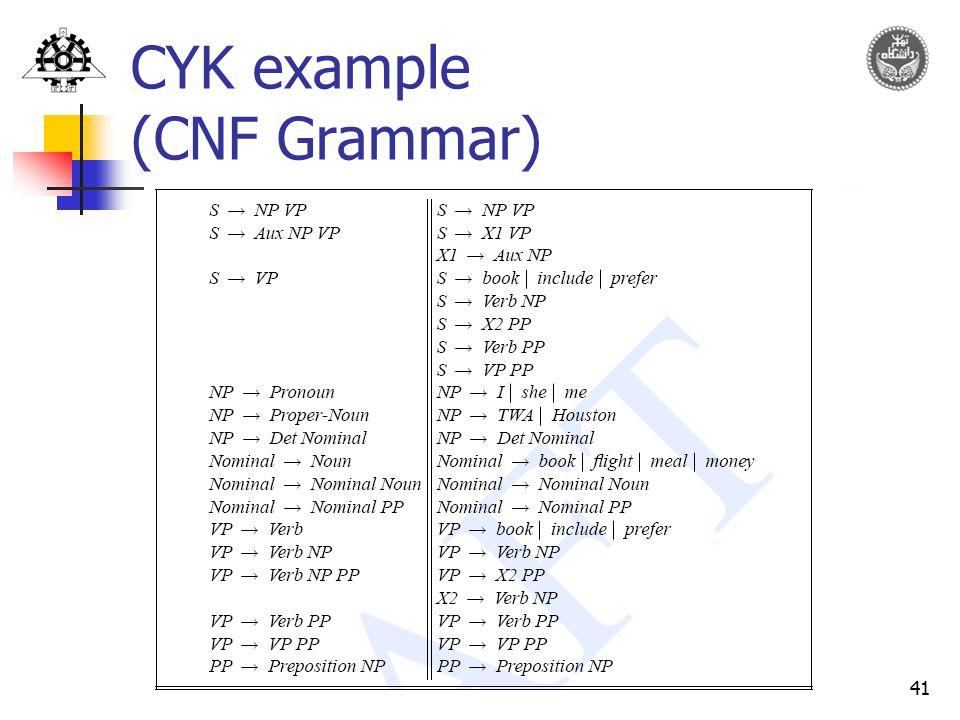 41 CYK example (CNF Grammar)