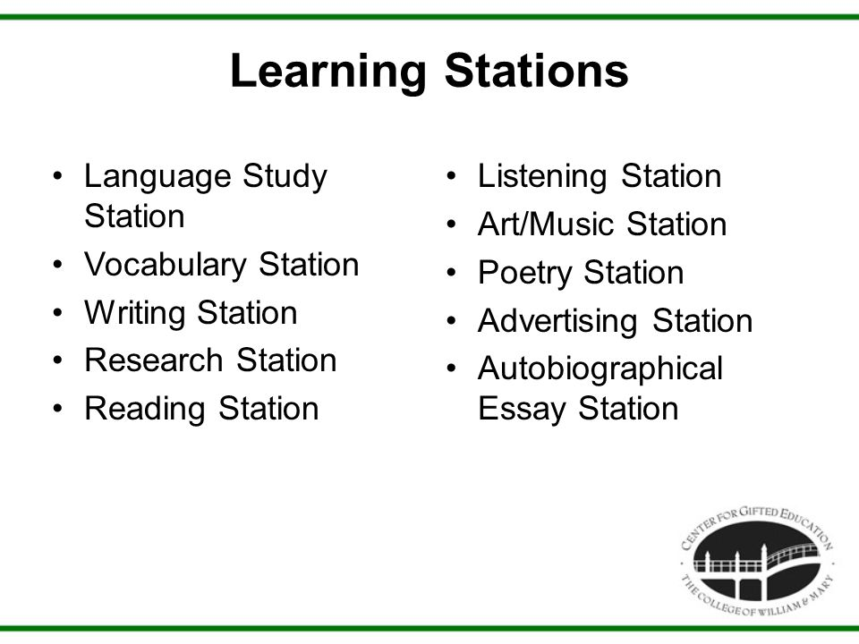 Learning Stations Language Study Station Vocabulary Station Writing Station Research Station Reading Station Listening Station Art/Music Station Poetry Station Advertising Station Autobiographical Essay Station