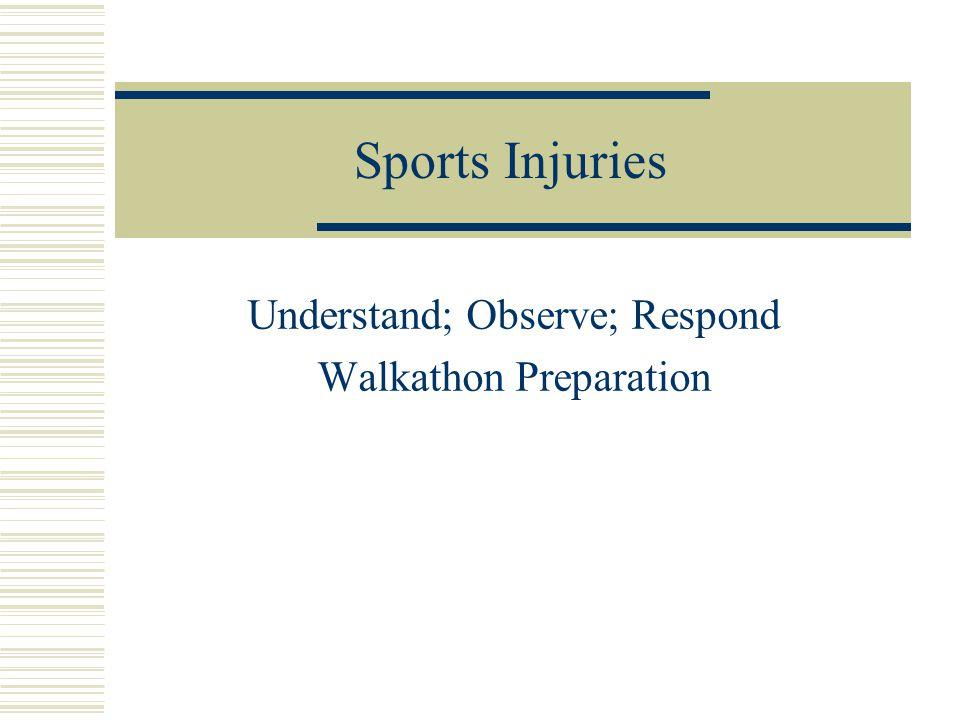 Sports Injuries Understand; Observe; Respond Walkathon Preparation
