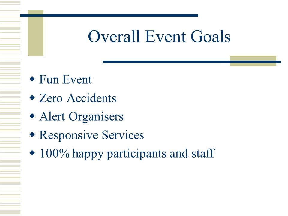 Overall Event Goals  Fun Event  Zero Accidents  Alert Organisers  Responsive Services  100% happy participants and staff