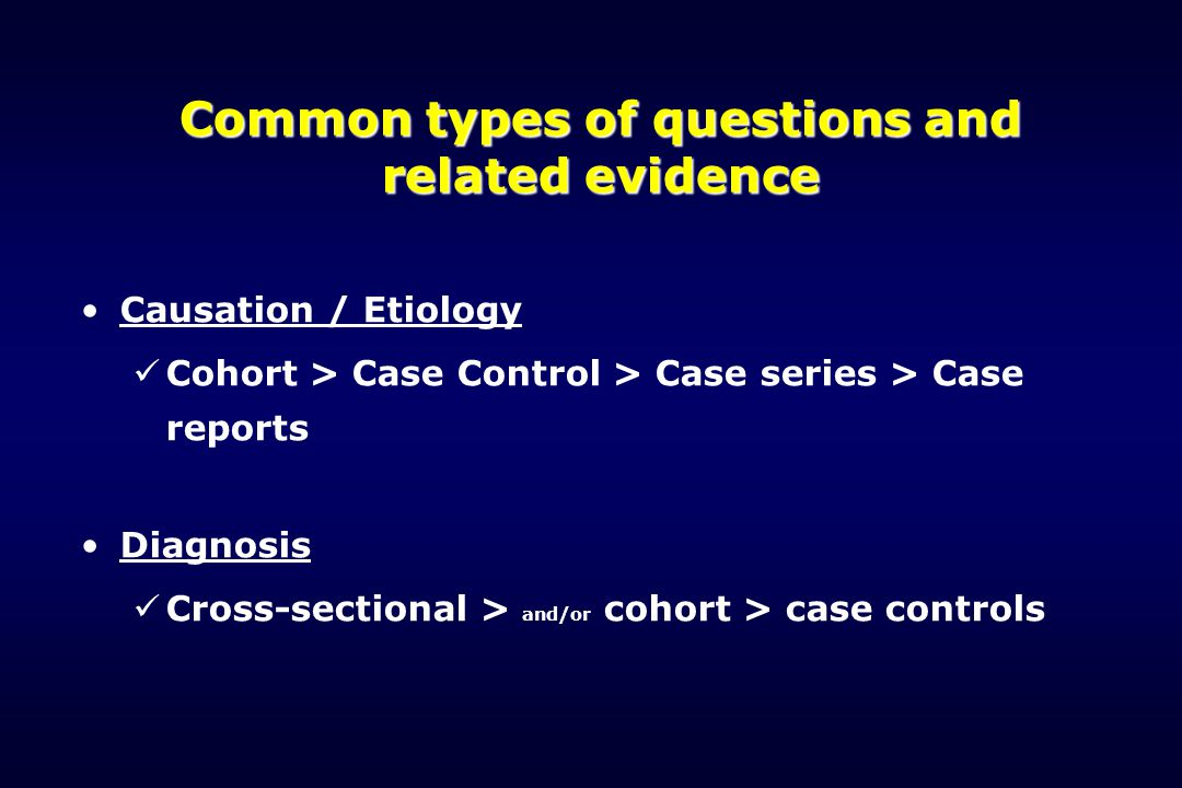 Common types of questions and related evidence Causation / Etiology Cohort > Case Control > Case series > Case reports Diagnosis Cross-sectional > and