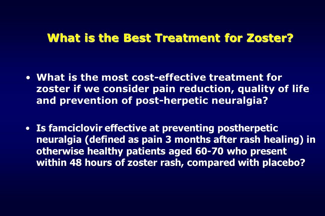 What is the Best Treatment for Zoster? What is the most cost-effective treatment for zoster if we consider pain reduction, quality of life and prevent