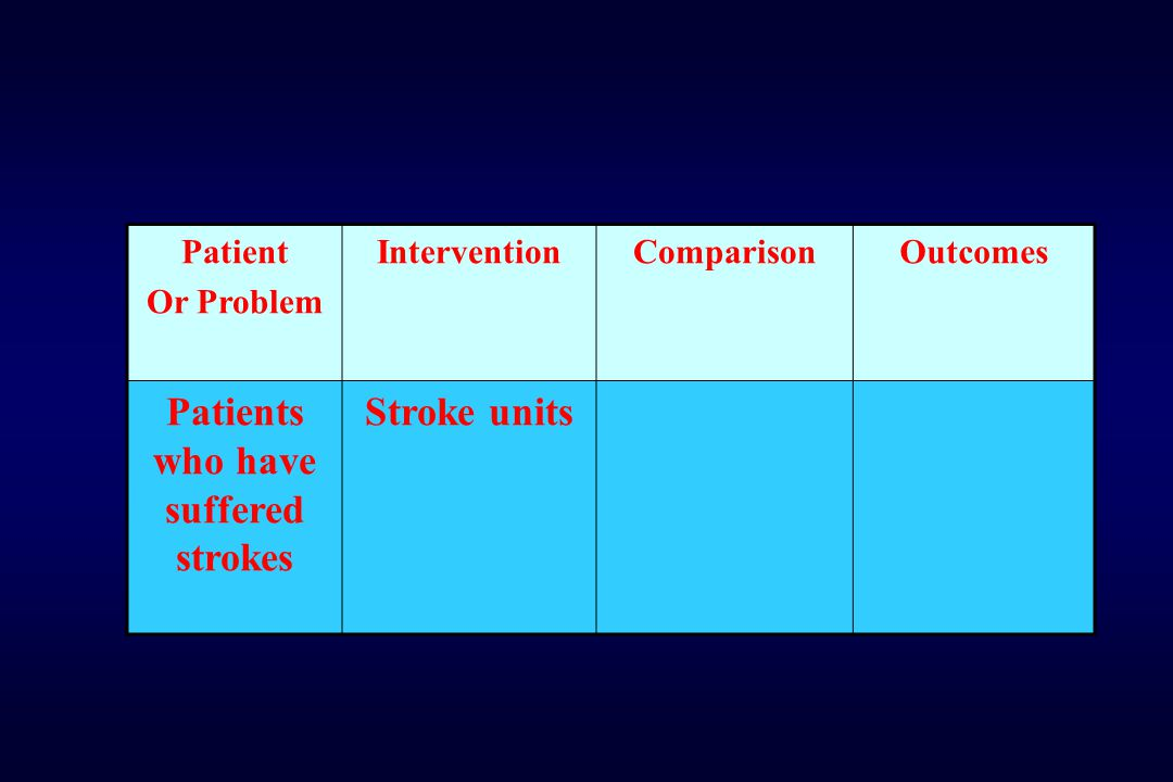 Patient Or Problem InterventionComparisonOutcomes Patients who have suffered strokes Stroke units