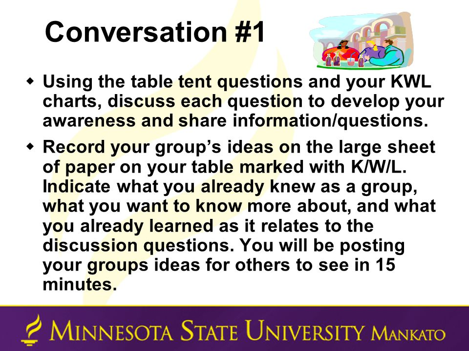 Conversation #1  Using the table tent questions and your KWL charts, discuss each question to develop your awareness and share information/questions.