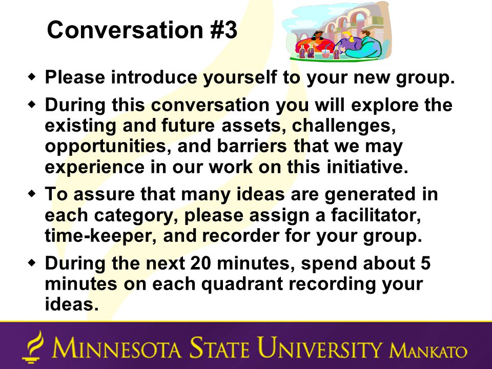 Conversation #3  Please introduce yourself to your new group.