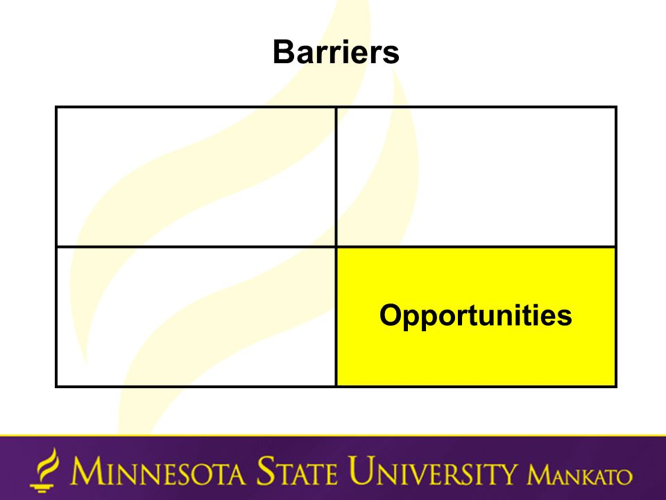 Barriers Opportunities