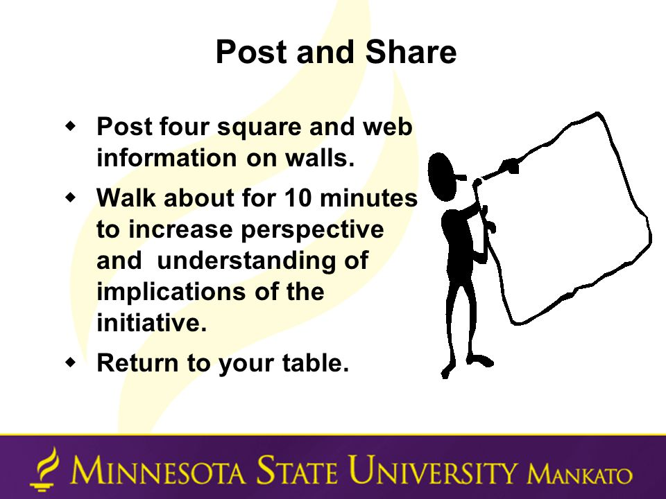 Post and Share  Post four square and web information on walls.