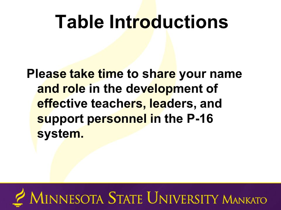 Table Introductions Please take time to share your name and role in the development of effective teachers, leaders, and support personnel in the P-16 system.