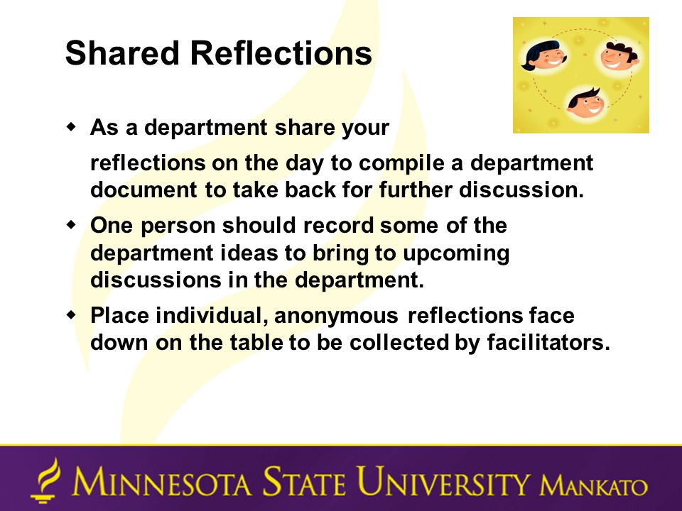 Shared Reflections  As a department share your reflections on the day to compile a department document to take back for further discussion.