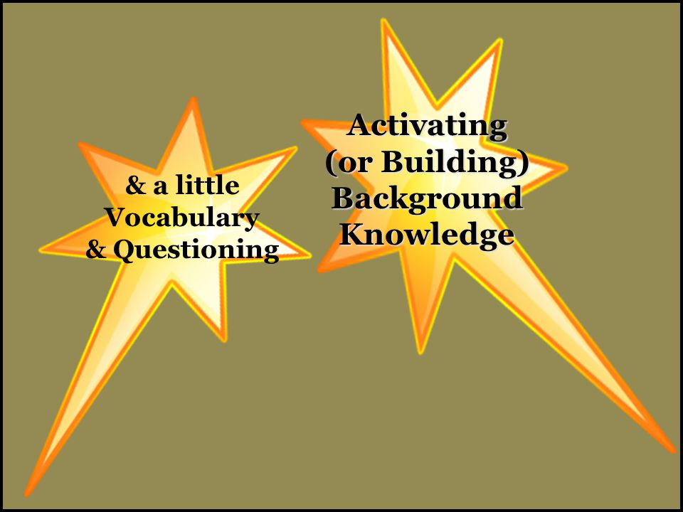 Activating (or Building) Background Knowledge & a little Vocabulary & Questioning
