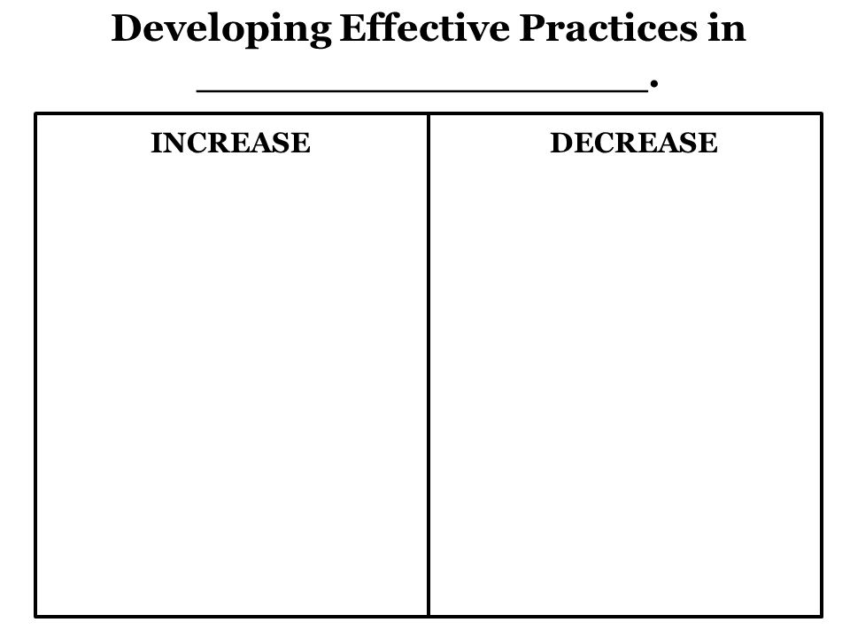 Developing Effective Practices in _________________. INCREASEDECREASE