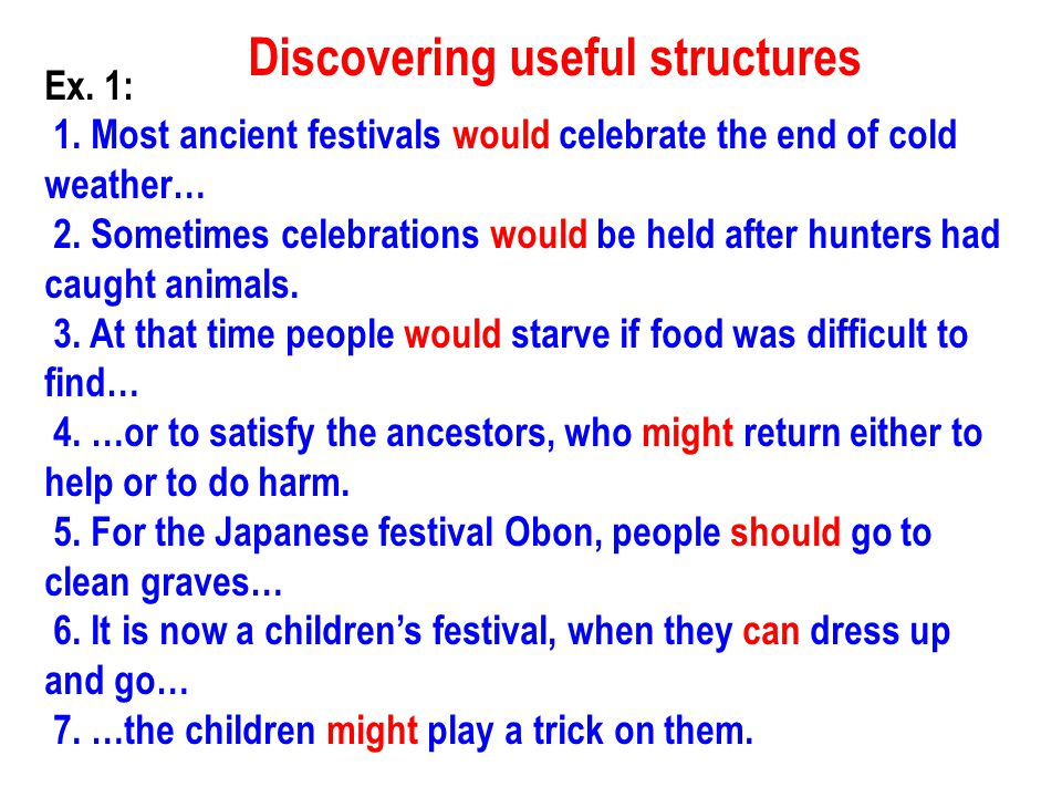 Discovering useful structures Ex.1: 1.