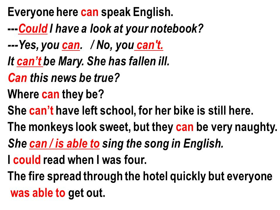 Everyone here can speak English.--- Could I have a look at your notebook.