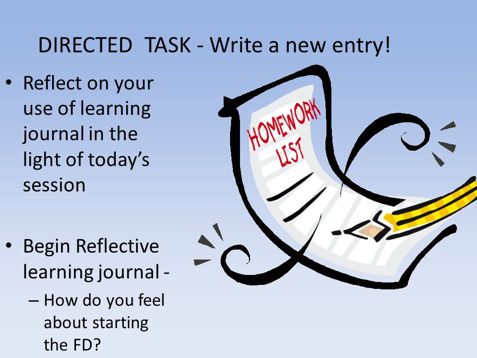 DIRECTED TASK - Write a new entry.