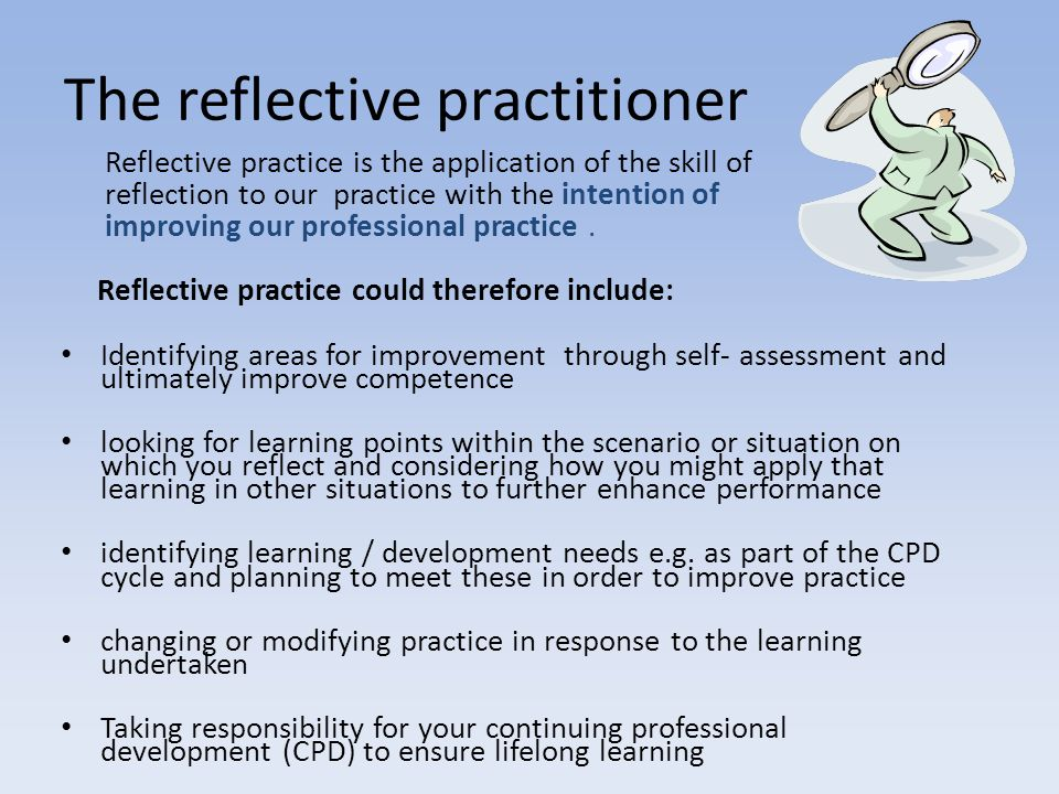 REFLECTIVE OBSERVATION Feelings/impressions ABSTRACT CONCEPTUALISATION Making sense of the experience ACTIVE EXPERIMENTATION Planning what to do next CONCRETE EXPERIENCE The event /experience Kolb's Learning Cycle