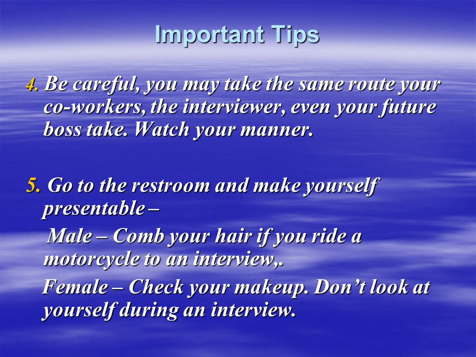 Important Tips 4.