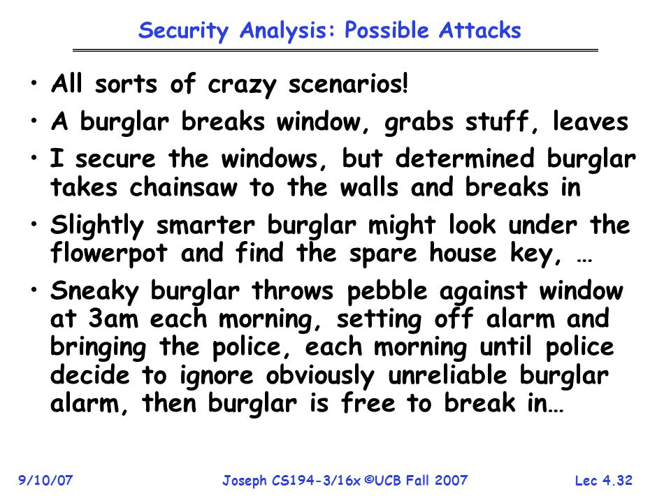 Lec 4.32 9/10/07Joseph CS194-3/16x ©UCB Fall 2007 Security Analysis: Possible Attacks All sorts of crazy scenarios.