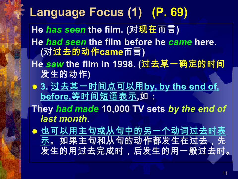 11 Language Focus (1) (P. 69) He has seen the film. ( 对现在而言 ) He had seen the film before he came here. ( 对过去的动作 came 而言 ) He saw the film in 1998. (