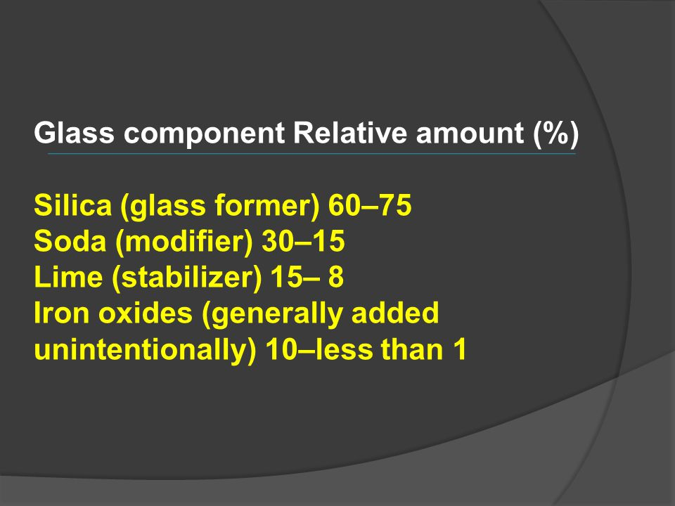 Glass component Relative amount (%) Silica (glass former) 60–75 Soda (modifier) 30–15 Lime (stabilizer) 15– 8 Iron oxides (generally added unintention