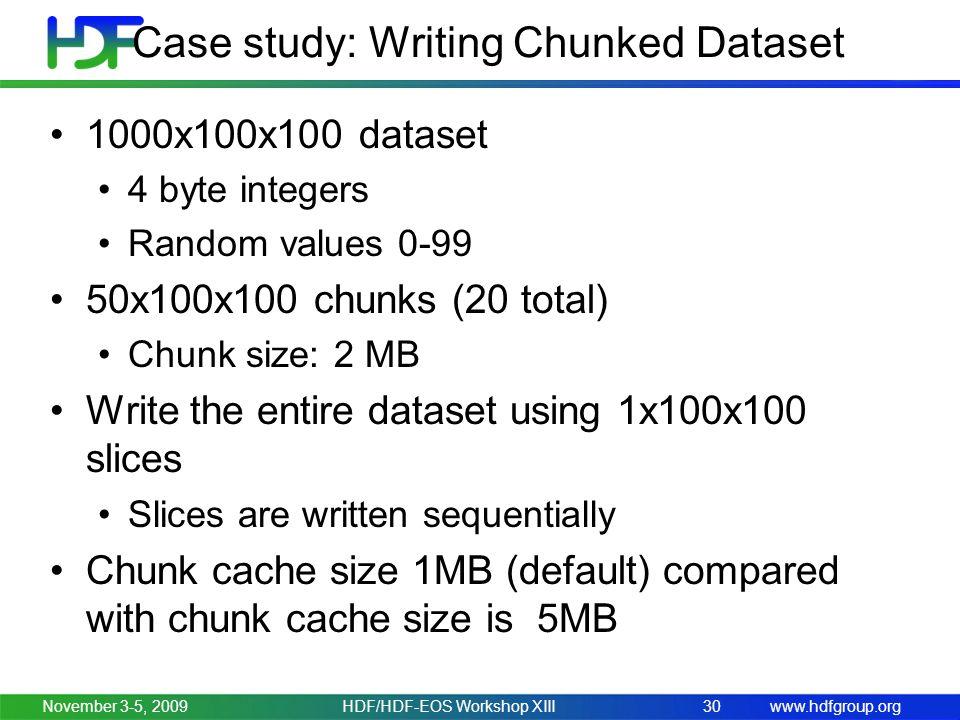 www.hdfgroup.org Case study: Writing Chunked Dataset 1000x100x100 dataset 4 byte integers Random values 0-99 50x100x100 chunks (20 total) Chunk size: