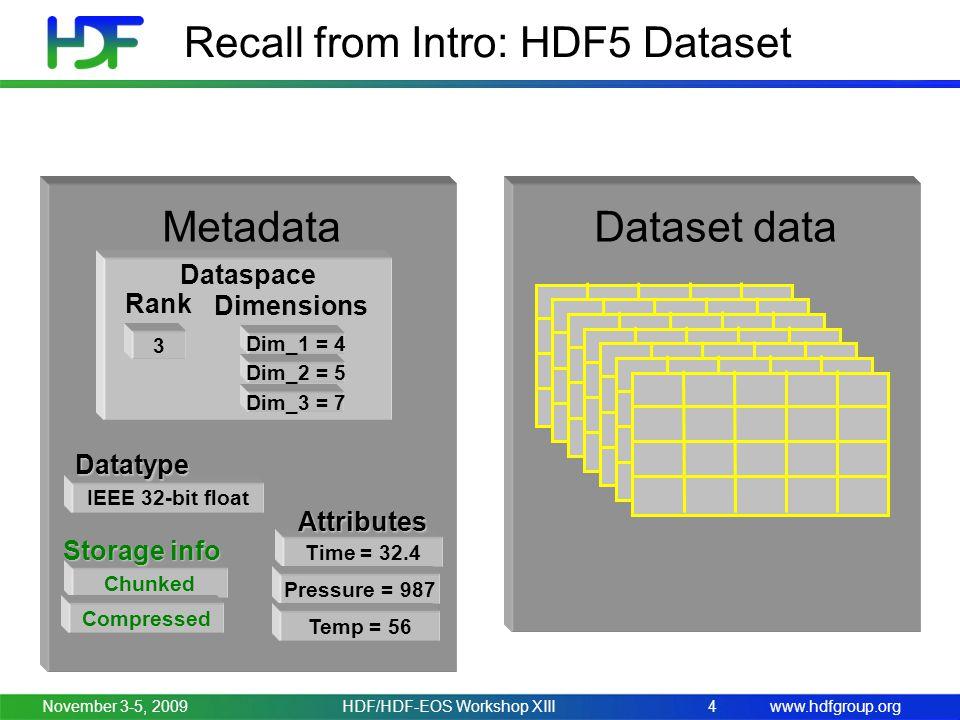www.hdfgroup.orgNovember 3-5, 2009HDF/HDF-EOS Workshop XIII4 Recall from Intro: HDF5 Dataset Dataset dataMetadata Dataspace 3 Rank Dim_2 = 5 Dim_1 = 4