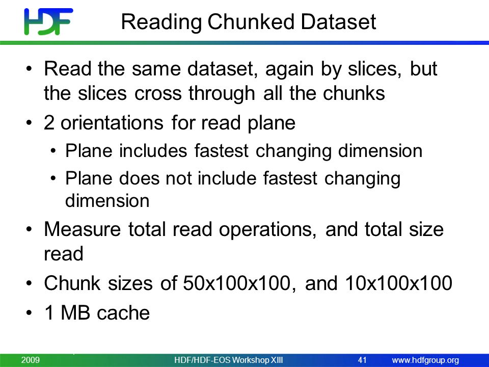 www.hdfgroup.org Reading Chunked Dataset Read the same dataset, again by slices, but the slices cross through all the chunks 2 orientations for read p