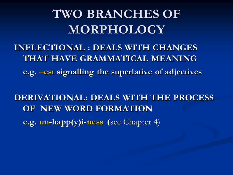 TWO BRANCHES OF MORPHOLOGY INFLECTIONAL : DEALS WITH CHANGES THAT HAVE GRAMMATICAL MEANING e.g. –est signalling the superlative of adjectives e.g. –es