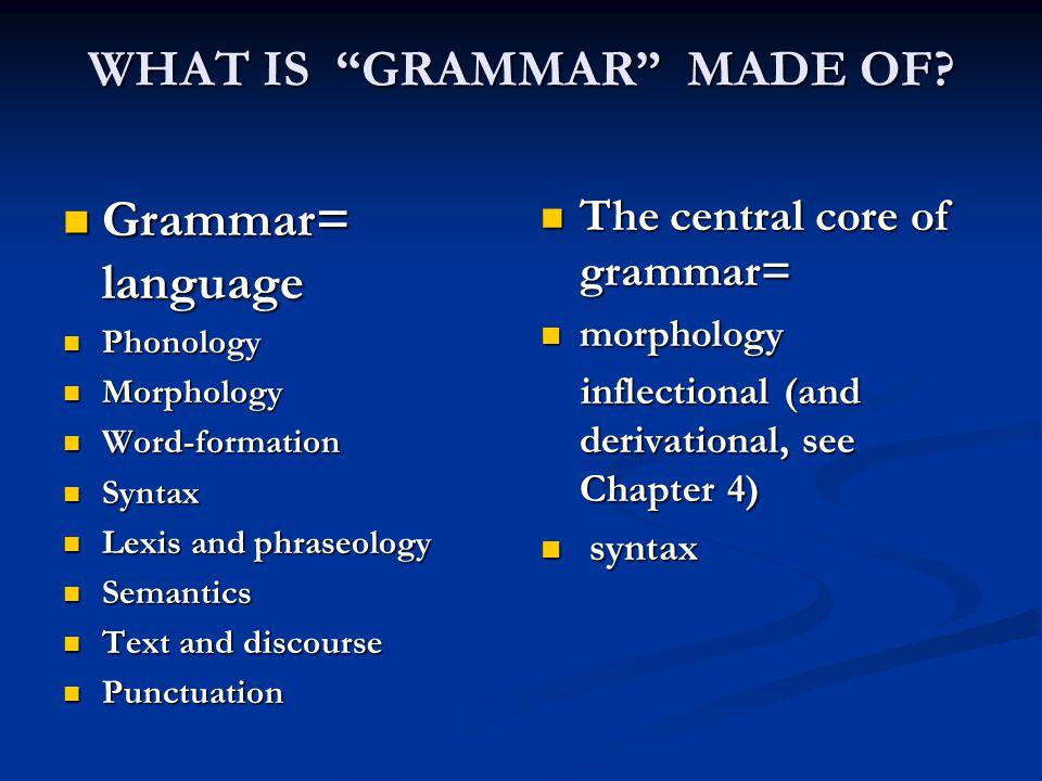 """WHAT IS """"GRAMMAR"""" MADE OF? Grammar= language Grammar= language Phonology Phonology Morphology Morphology Word-formation Word-formation Syntax Syntax L"""