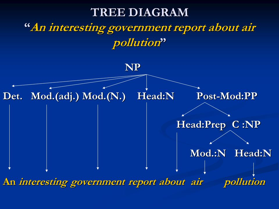 """TREE DIAGRAM """"An interesting government report about air pollution"""" NP NP Det. Mod.(adj.) Mod.(N.) Head:N Post-Mod:PP Head:Prep C :NP Head:Prep C :NP"""
