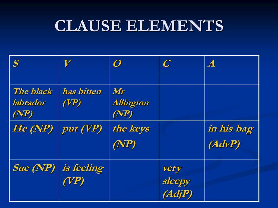 CLAUSE ELEMENTS SVOCA The black labrador (NP) has bitten (VP) Mr Allington (NP) He (NP) put (VP) the keys (NP) in his bag (AdvP) Sue (NP) is feeling (