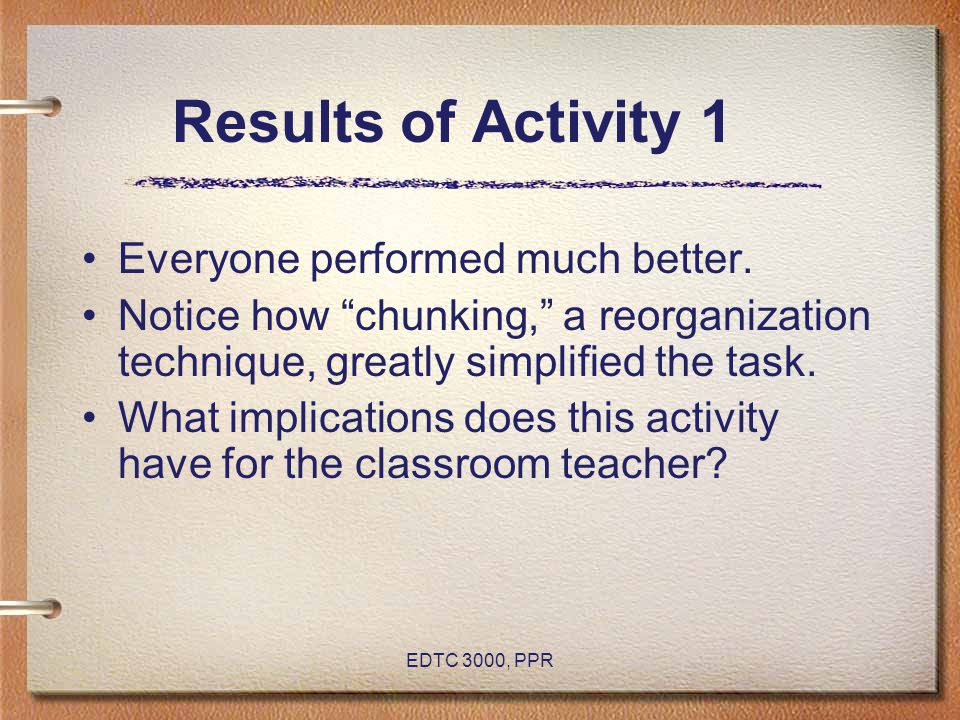 EDTC 3000, PPR Results of Activity 1 Everyone performed much better.
