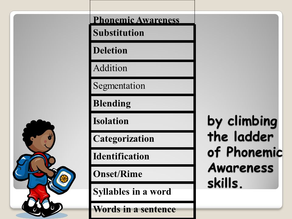Substitution Deletion Addition Segmentation Blending Isolation Categorization Identification Onset/Rime Syllables in a word Words in a sentence by climbing the ladder of Phonemic Awareness skills.