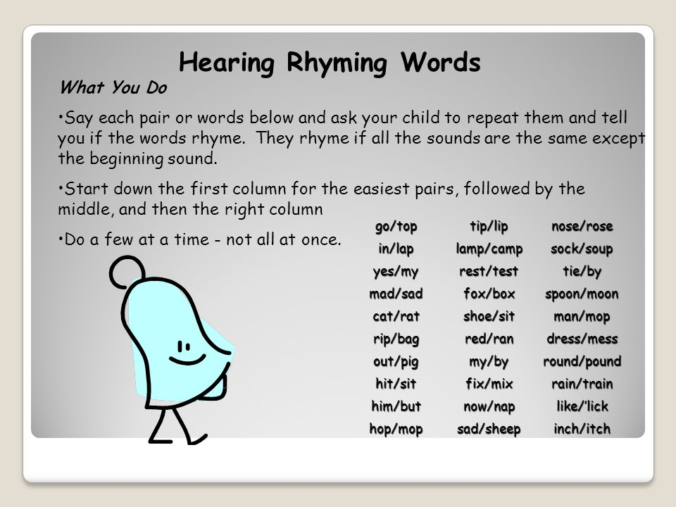 Hearing Rhyming Words go/toptip/lipnose/rose in/laplamp/campsock/soup yes/myrest/testtie/by mad/sadfox/boxspoon/moon cat/ratshoe/sitman/mop rip/bagred/randress/mess out/pigmy/byround/pound hit/sitfix/mixrain/train him/butnow/naplike/'lick hop/mopsad/sheepinch/itch What You Do Say each pair or words below and ask your child to repeat them and tell you if the words rhyme.