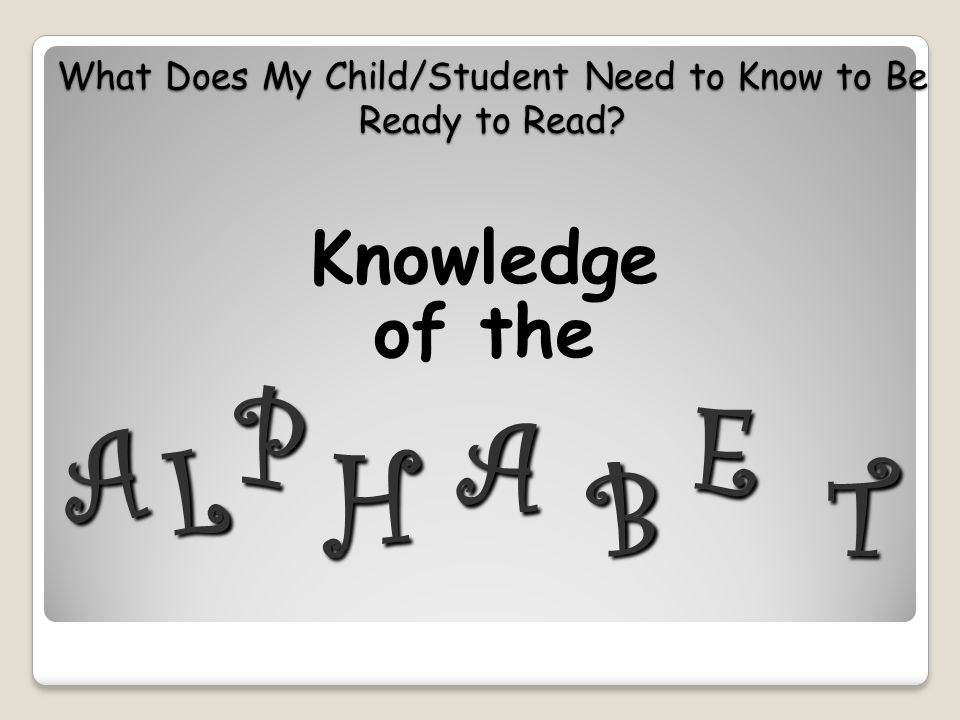 What Does My Child/Student Need to Know to Be Ready to Read? Knowledge of the A P L A H B E T
