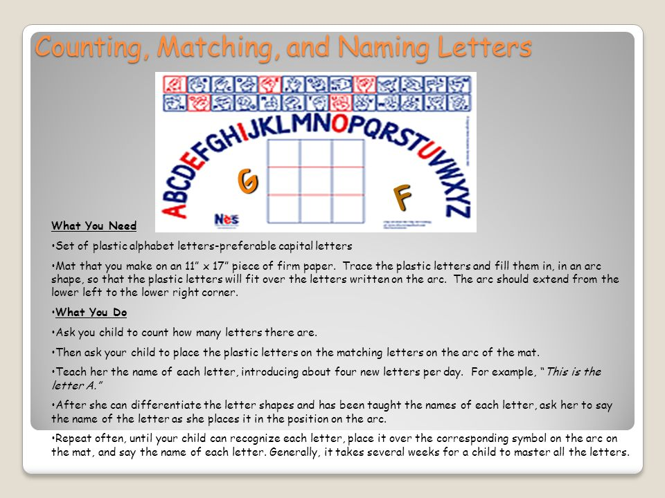 Counting, Matching, and Naming Letters F G What You Need Set of plastic alphabet letters-preferable capital letters Mat that you make on an 11 x 17 piece of firm paper.