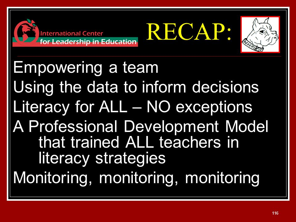 116 Empowering a team Using the data to inform decisions Literacy for ALL – NO exceptions A Professional Development Model that trained ALL teachers in literacy strategies Monitoring, monitoring, monitoring RECAP:
