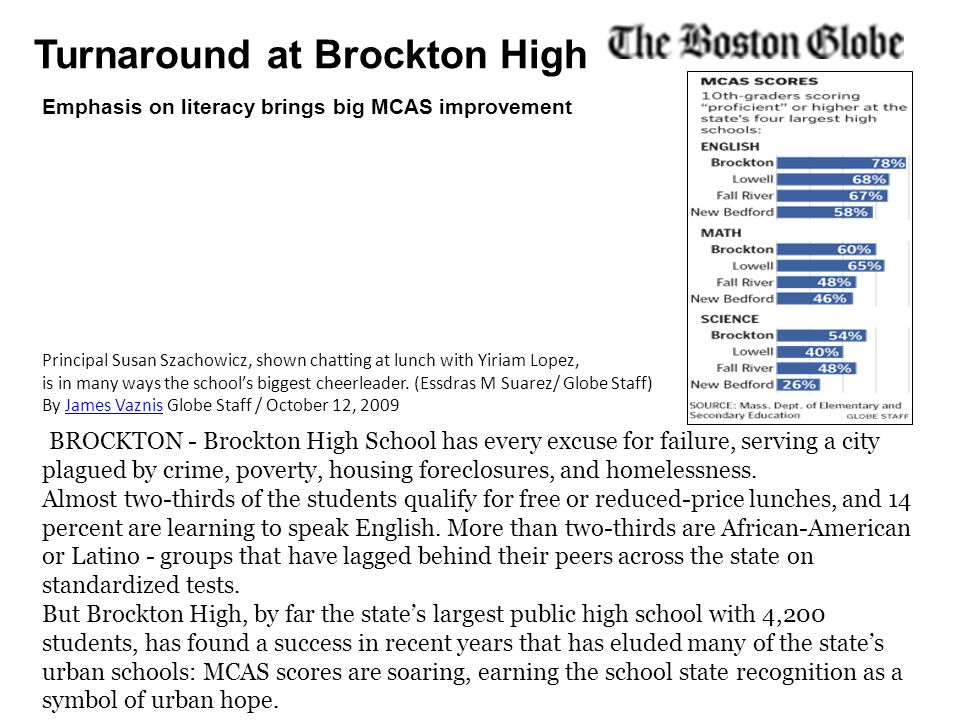 Turnaround at Brockton High BROCKTON - Brockton High School has every excuse for failure, serving a city plagued by crime, poverty, housing foreclosures, and homelessness.