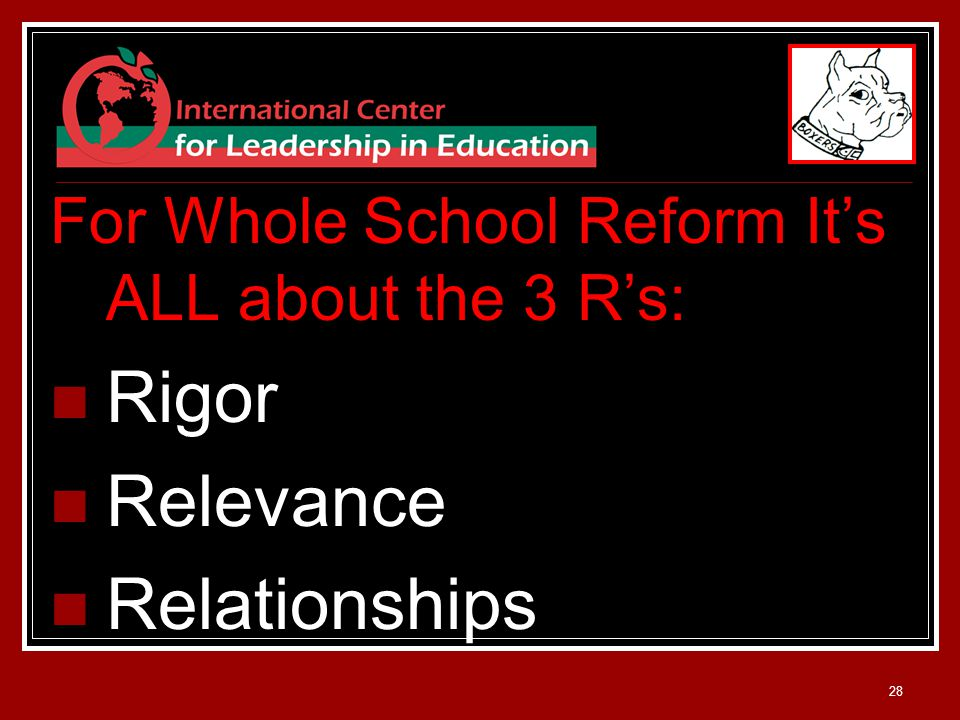28 For Whole School Reform It's ALL about the 3 R's: Rigor Relevance Relationships