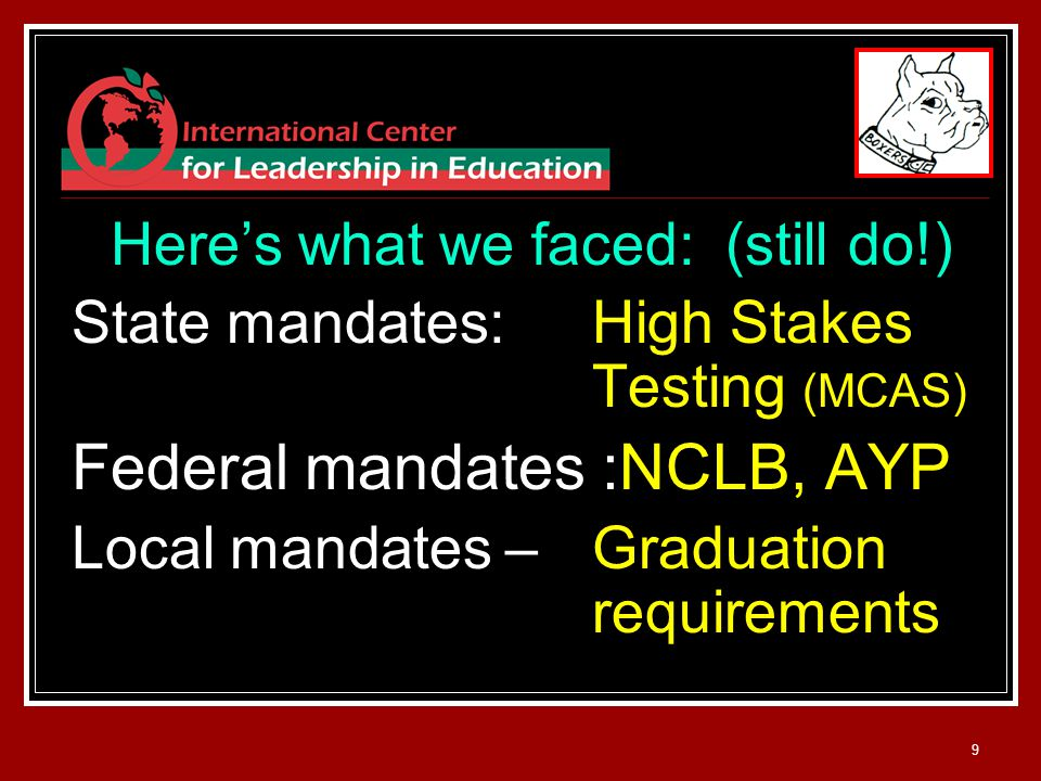 9 Here's what we faced: (still do!) State mandates: High Stakes Testing (MCAS) Federal mandates :NCLB, AYP Local mandates – Graduation requirements